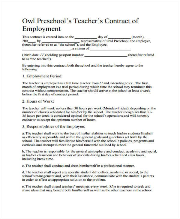Teacher Contract Templates  Free Word Pdf Format Download