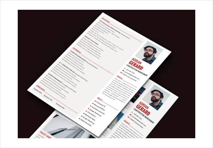 Premium Construction Manager Resume Template