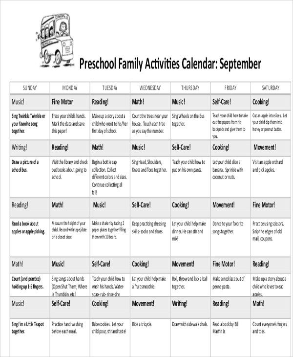 Preschool Calendar Templates  Sample Examples  Free