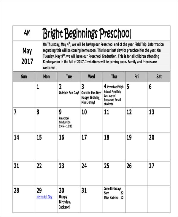8 Preschool Calendar Templates Sample Examples – Preschool Calendar Template