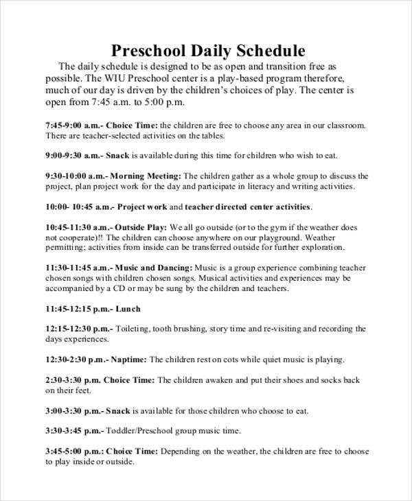 preschool daily