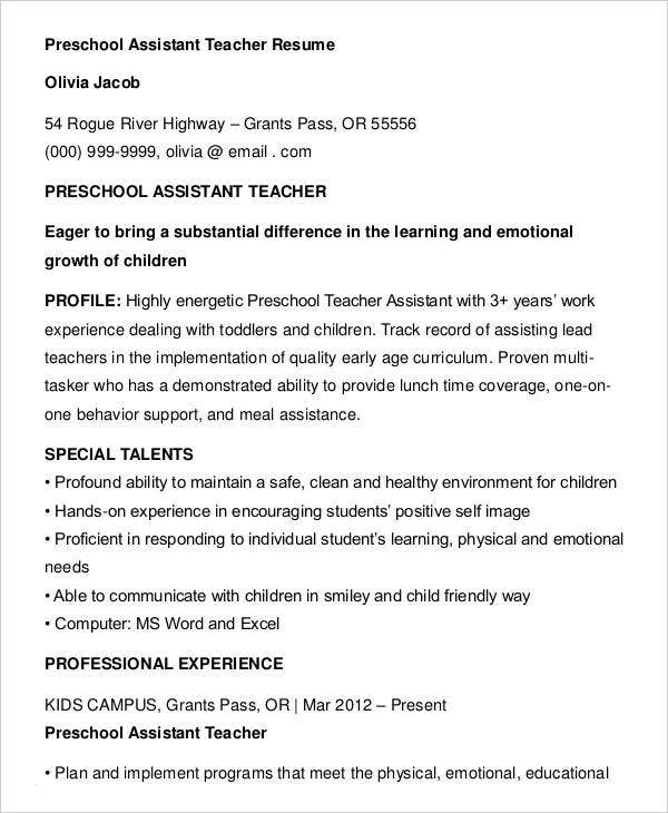 Teacher Assistant Resume