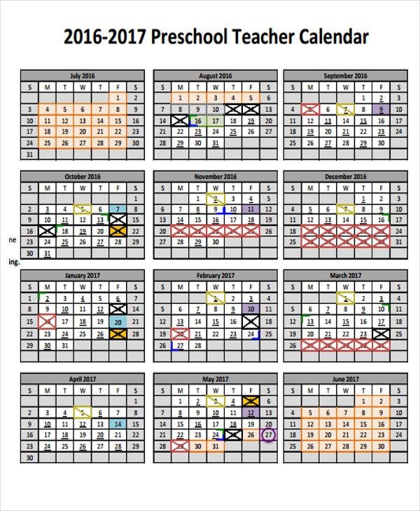 Teacher Calendar Templates   Free Word Pdf Format Download
