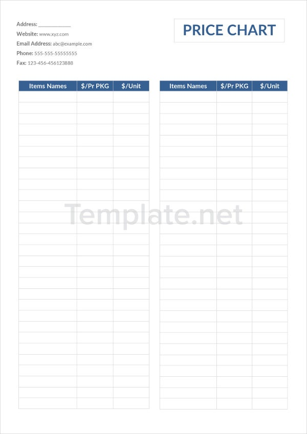 Price Chart Templates