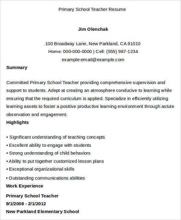 primary school teacher resume sample