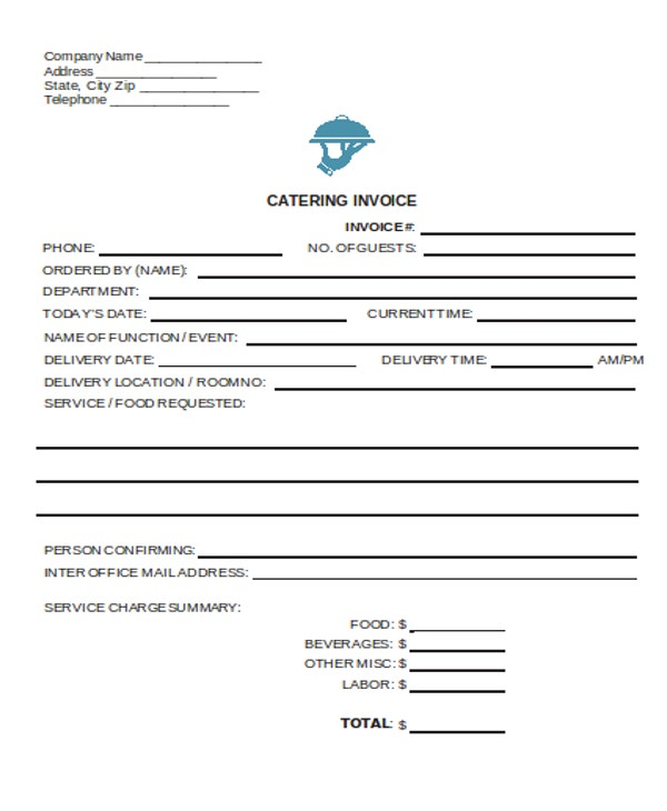 Sample Catering Invoice | 6 Catering Receipt Templates Free Sample Example Format Download