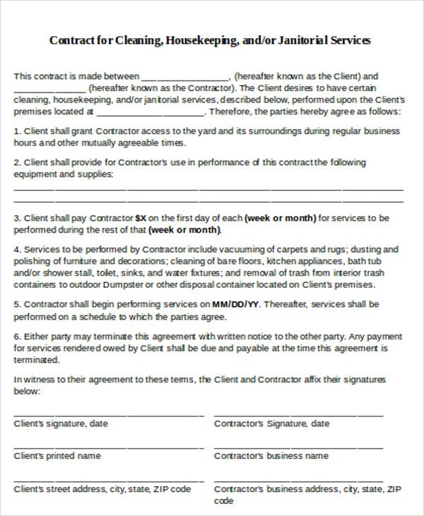Printable Cleaning Contract Template  Free Business Contract Templates