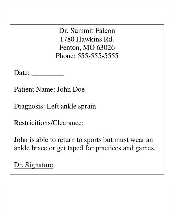 printable doctors return to sports note