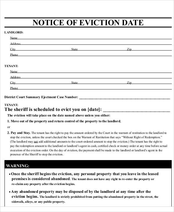 printable eviction