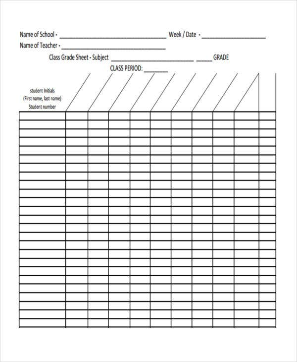 photograph relating to Free Printable Grade Sheet named 11+ Quality Sheet Templates - Absolutely free Pattern, Instance Structure