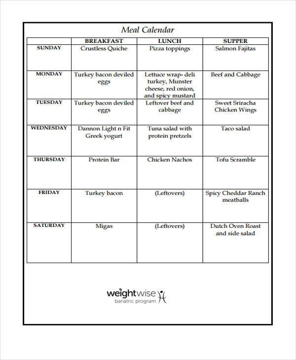 Meal Calendar Templates   Free Word Pdf Format Download  Free