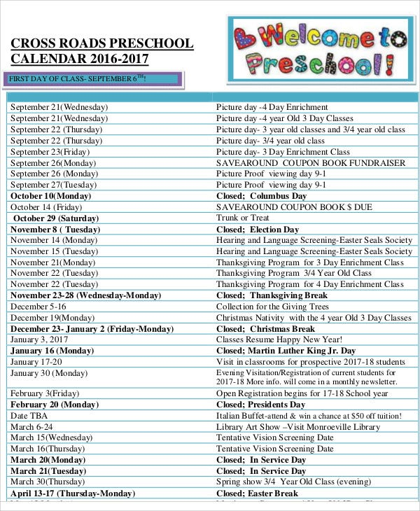 8+ Preschool Calendar Templates - Sample, Examples | Free