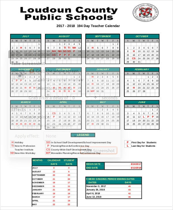 7  teacher calendar templates