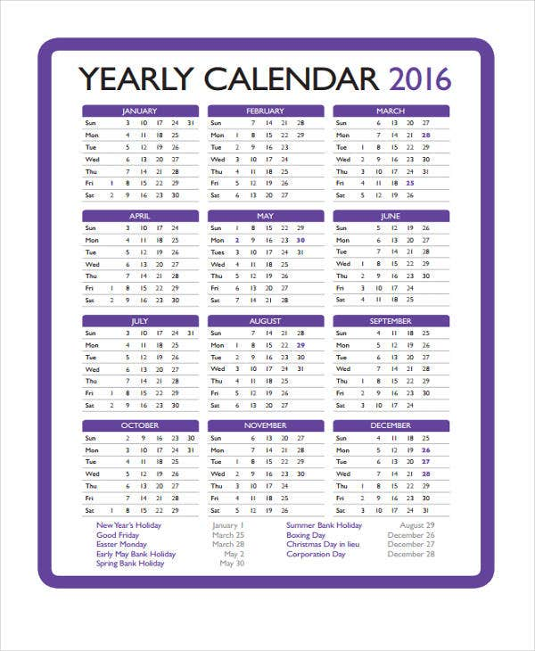 Yearly Calendar Templates  Sample Example Format Download