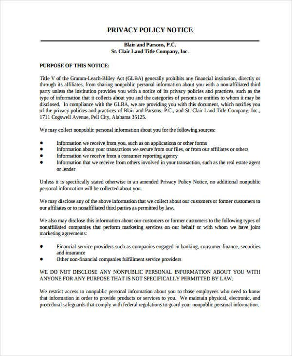30 free notice templates free premium templates for Corporate privacy policy template