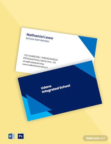 private school business card template