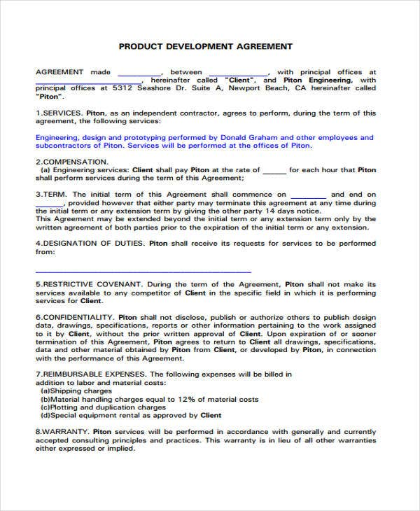 Development Agreement Template
