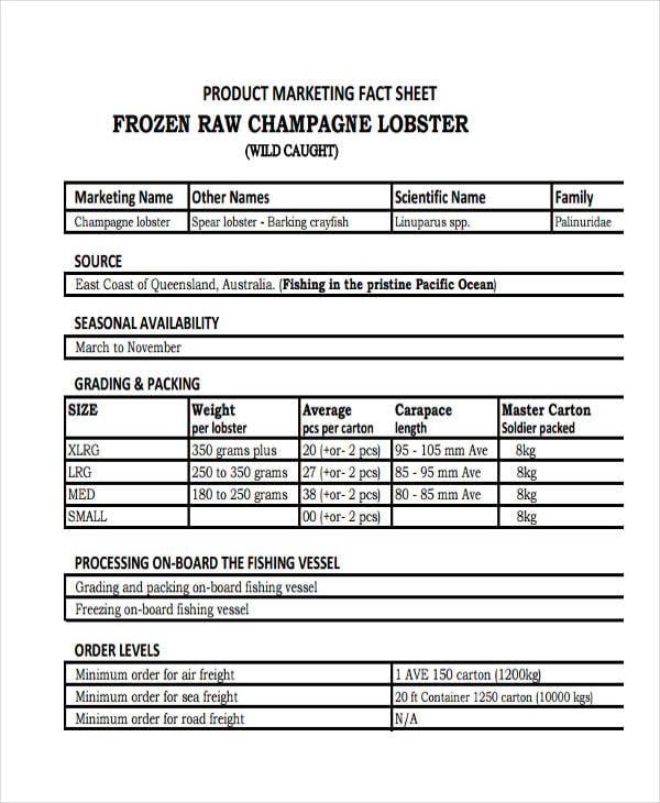 product marketing fact sheet