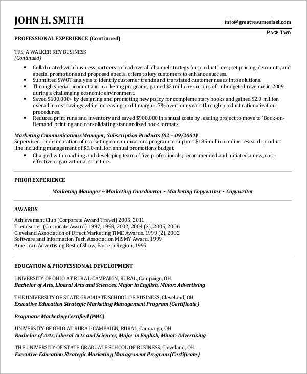 Product & Marketing Management Resume