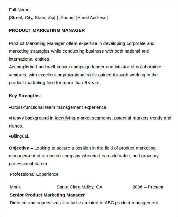 Product Marketing Manager Resume