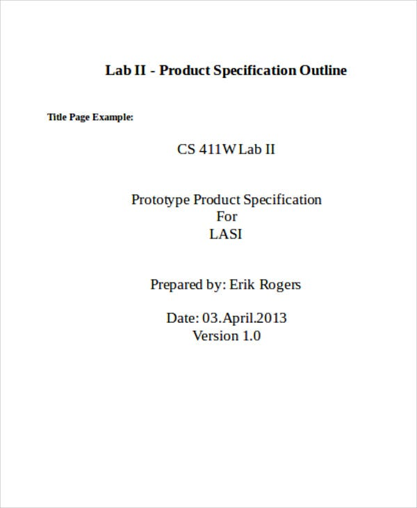 product specification outline