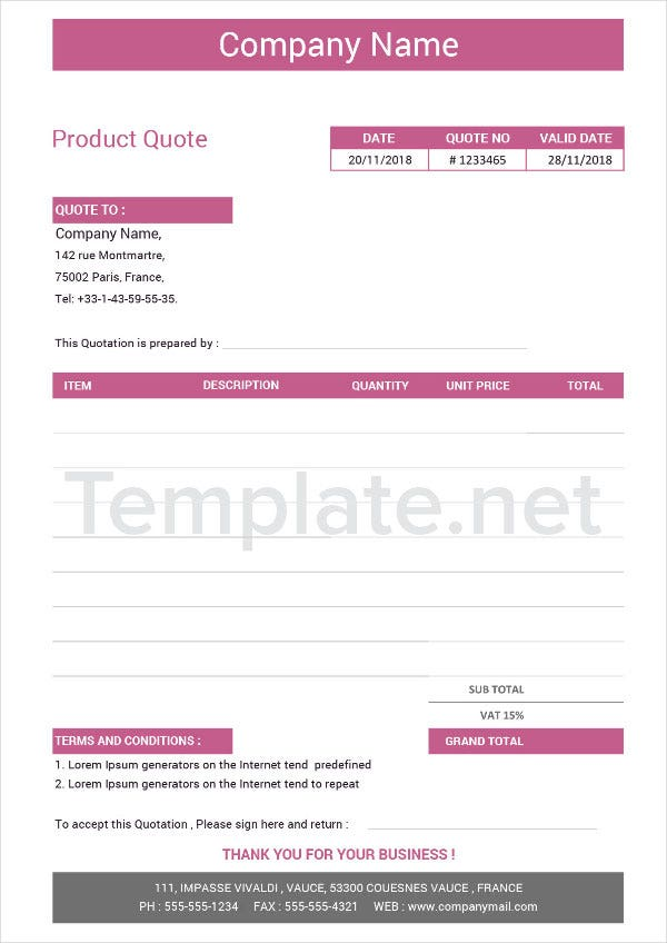 Product Quotation Template
