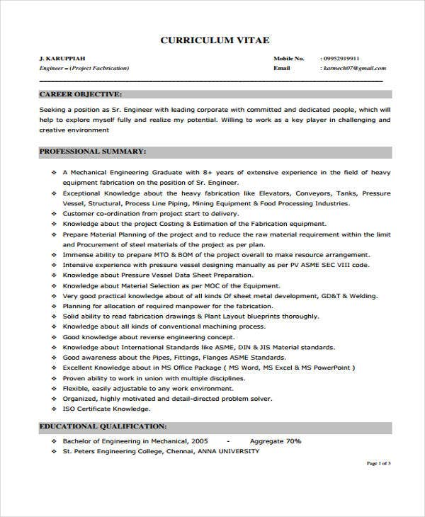 10 Printable Engineer Curriculum Vitae Templates Pdf Doc Free