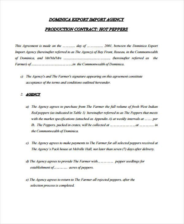 Production Contract Example For Export Agreement Sample