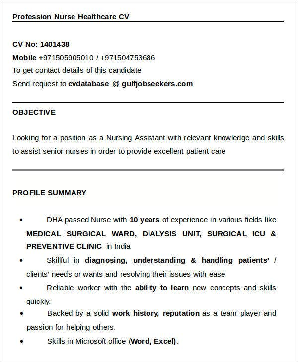 Profession Nurse Healthcare CV