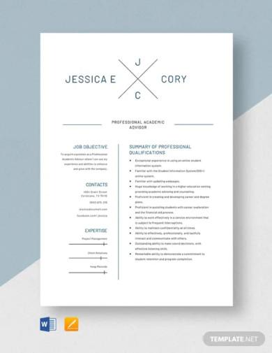 professional academic advisor resume template