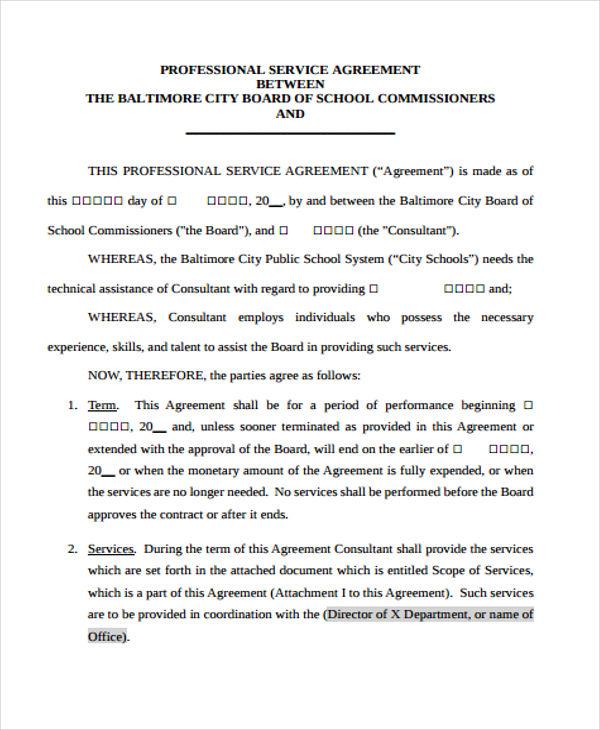 professional agreement1