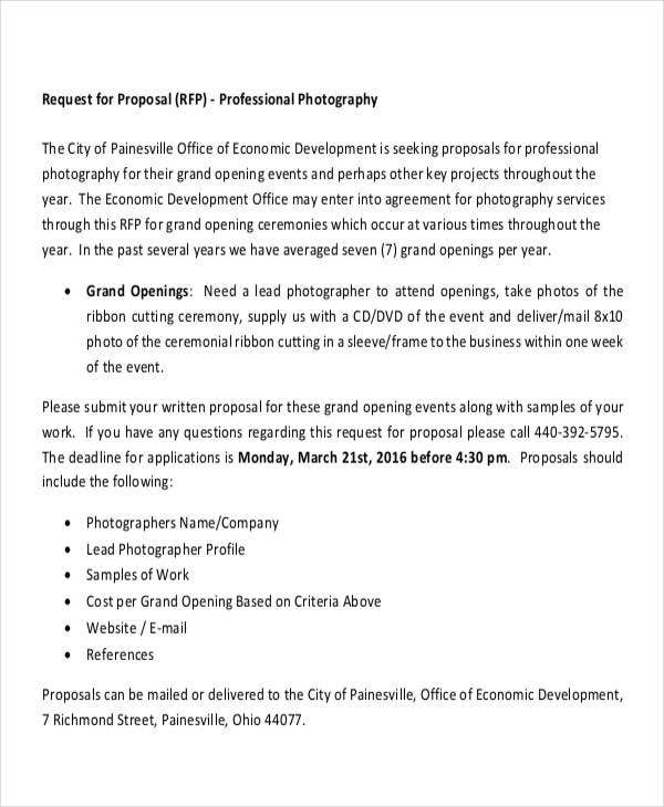 Photography Business Proposal Templates   Free Word Pdf Format