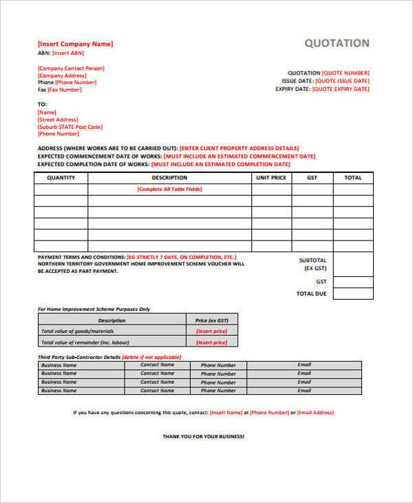 9+ Construction Quotation Templates - PDF, Word, Apple Pages   Free
