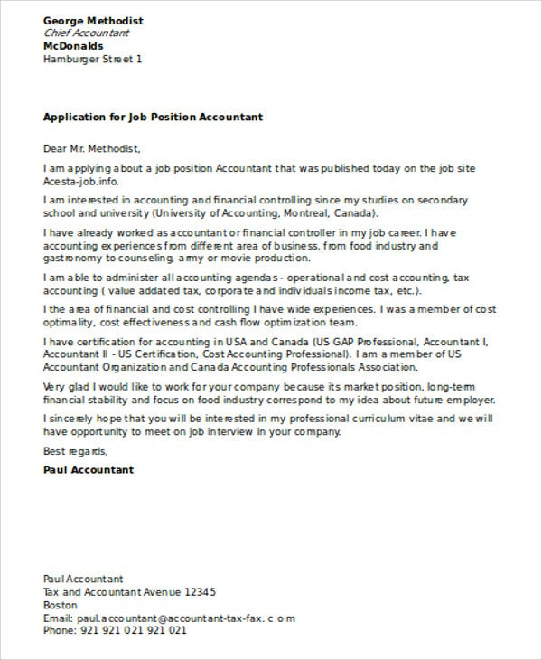 12 Accounting Cover Letters Free Sample Example Format