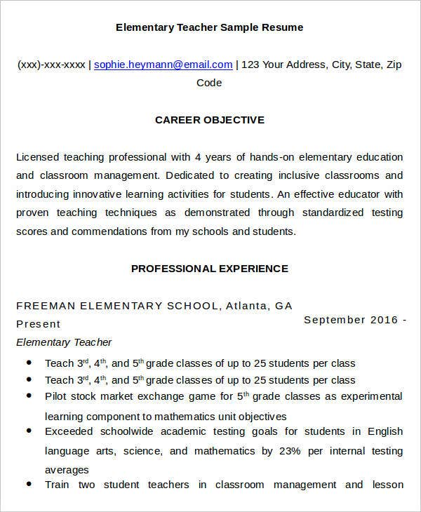 Professional Elementary Teacher Resume