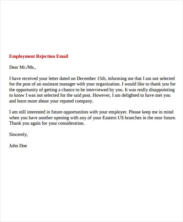 9  professional rejection letter