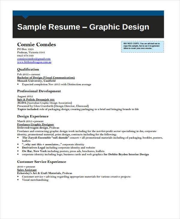 professional graphic curriculum vitae - Sample Resume For Graphic Designer