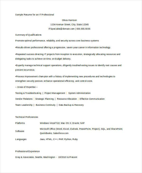 professional it resume in word