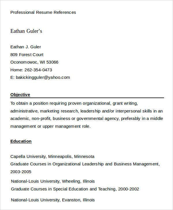 Professional Resume References Example