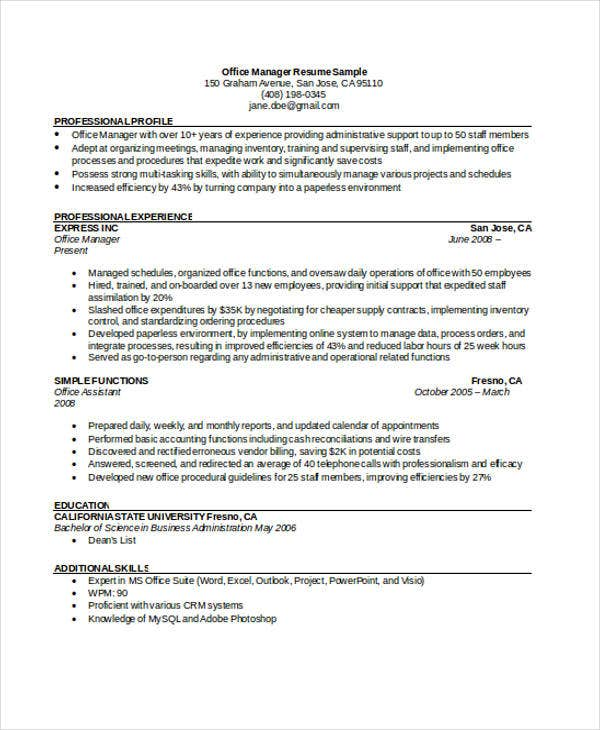 Office Manager Resumes 8 Free Word PDF Format Download – Office Manager Resume Sample