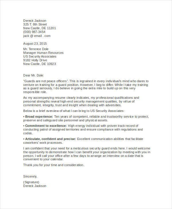 8 Security Guard Cover Letters Free Sample Example Format