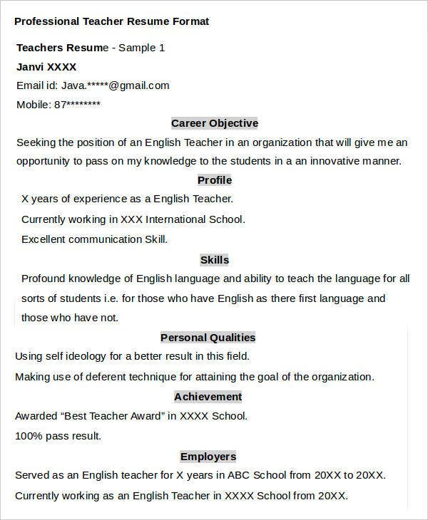 Professional Teacher Resume – Teaching Resume Format