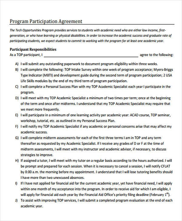 program participation agreement