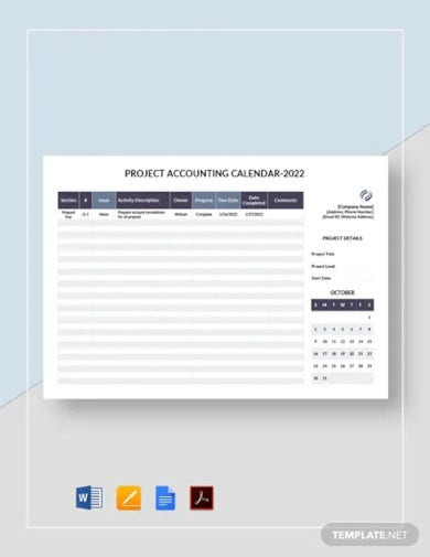project accounting calendar template