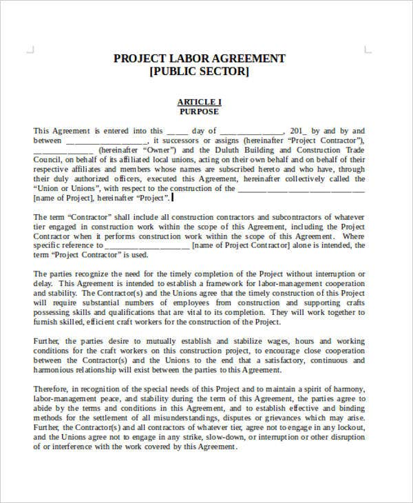 Labor Agreement Templates   Free Word Pdf Format Download  Free