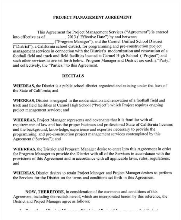 Management Agreement Templates  Free Sample Example Format