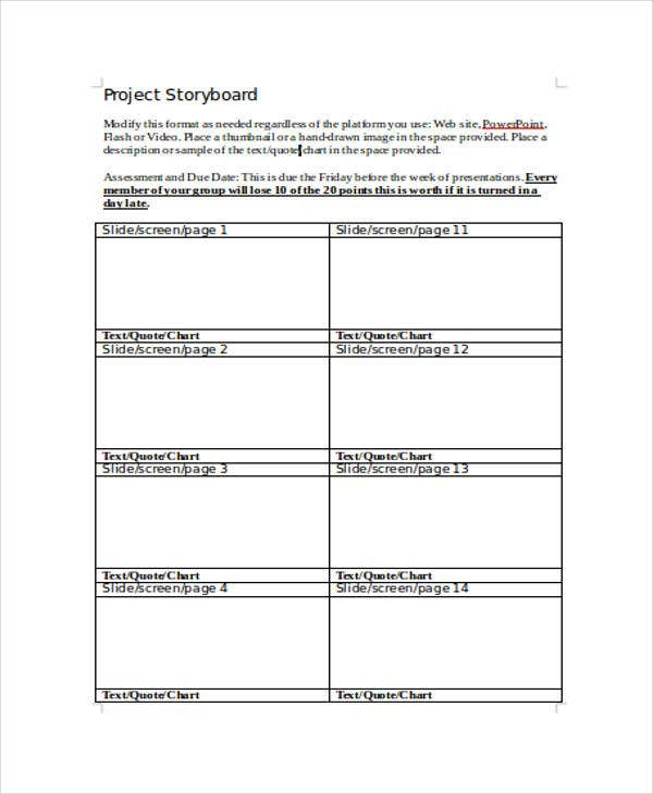 Project Storyboard Templates   Free Word Pdf Format Download