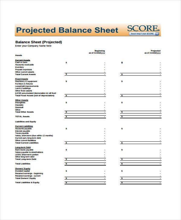 projected balance