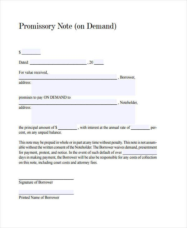 25 Sample Note Templates – Demand Note Template