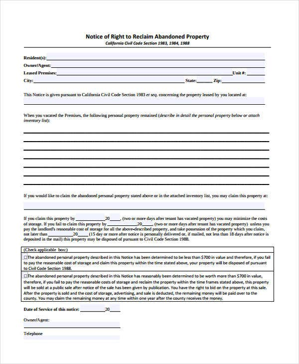 Abandonment Notice Templates Free PDF Format Download Free - Property will template
